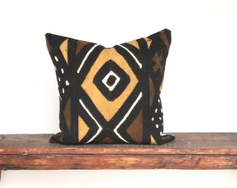 African Mudcloth black cream gold  boho pillow cover