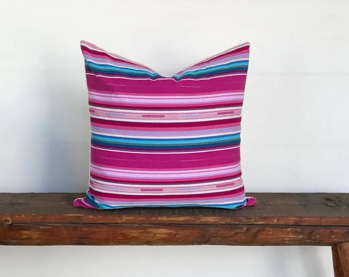 Saltillo style pink boho pillow cover