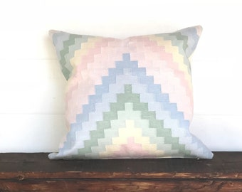 Pastel Indian Dhurrie  boho pillow cover