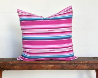 Pink Saltillo style  Euro size boho pillow cover