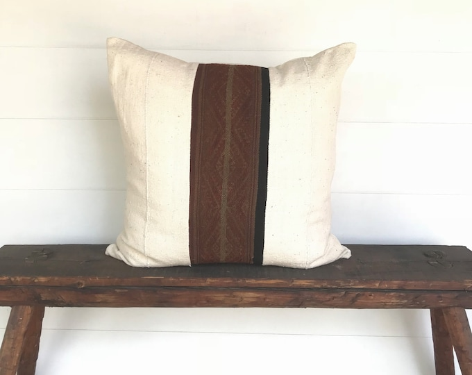 Boho Peruvian textile and African mud cloth Euro size pillow cover