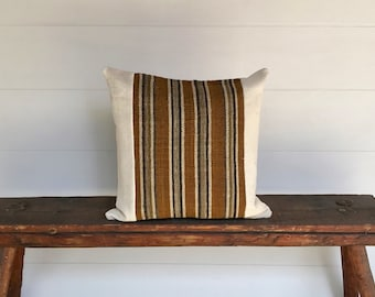 Peruvian textile and  vintage  African mudcloth  boho pillow cover