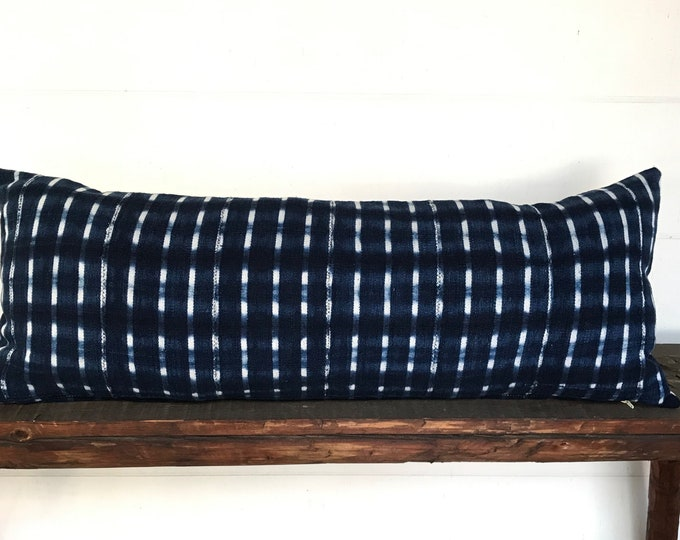 African indigo large lumbar boho pillow cover