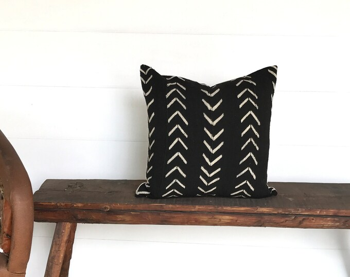 Vintage mud cloth  black cream boho pillow cover 19x19