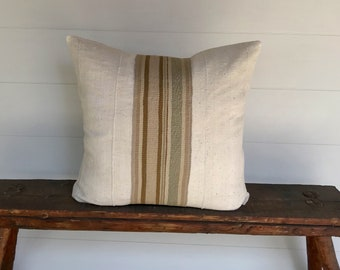 Boho Peruvian textile and  vintage  African mudcloth Euro size pillow cover