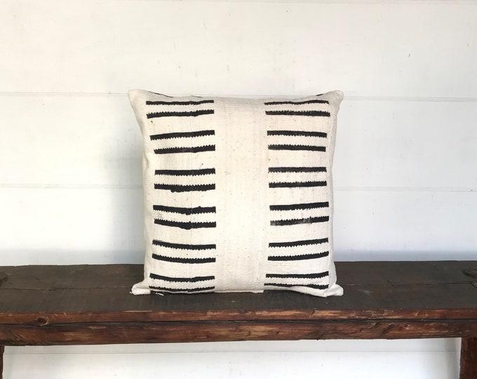 African mudcloth  cream black  boho pillow cover