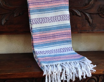 Boho chic Mexican beach blanket, yoga blanket, pink and blue stripe