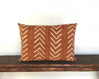 Boho African rust mudcloth lumbar pillow cover