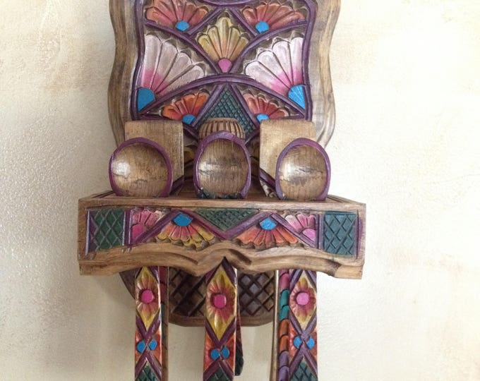 Mexican wooden spoon rack hand carved with 9 Utensils