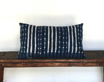 Vintage African indigo lumbar boho pillow cover
