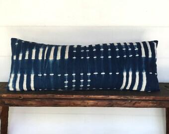African indigo mudcloth lumbar boho pillow cover