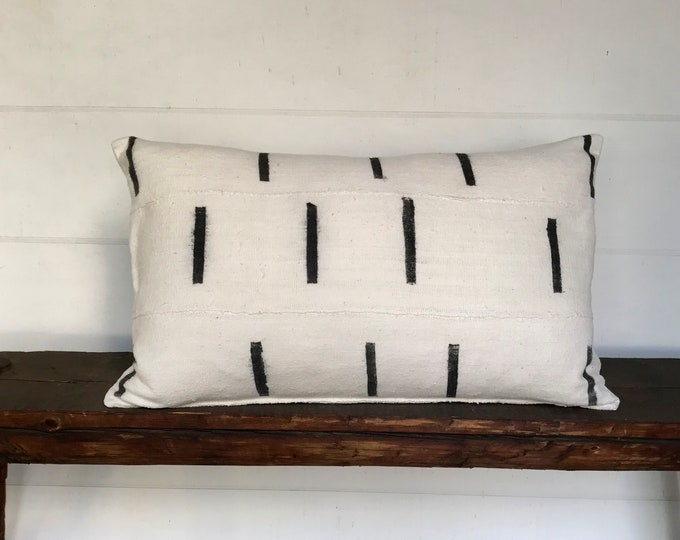 15x25   African Black/White Mudcloth Lumbar Boho Pillow Cover