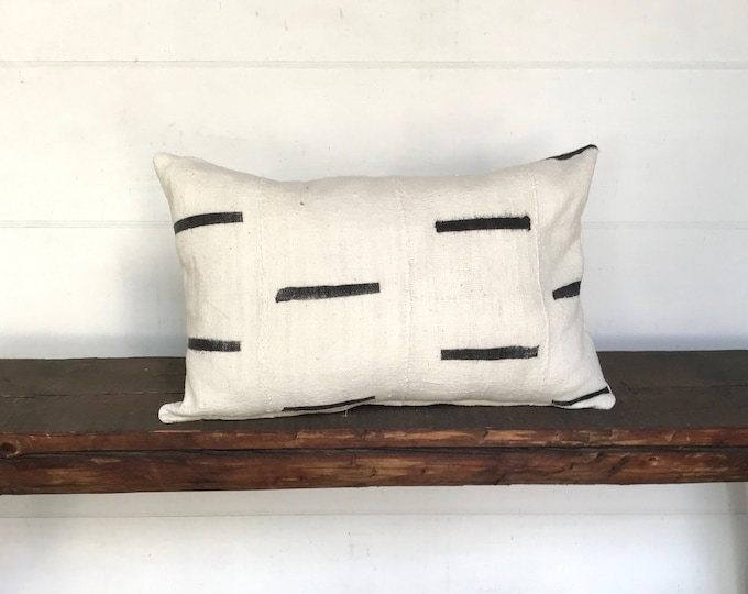 African black white mudcloth lumbar boho pillow cover