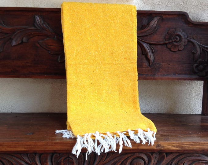 Boho beach blanket, yoga blanket, yellow