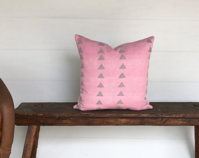 Boho African mudcloth pink and gray  arrow  pillow cover
