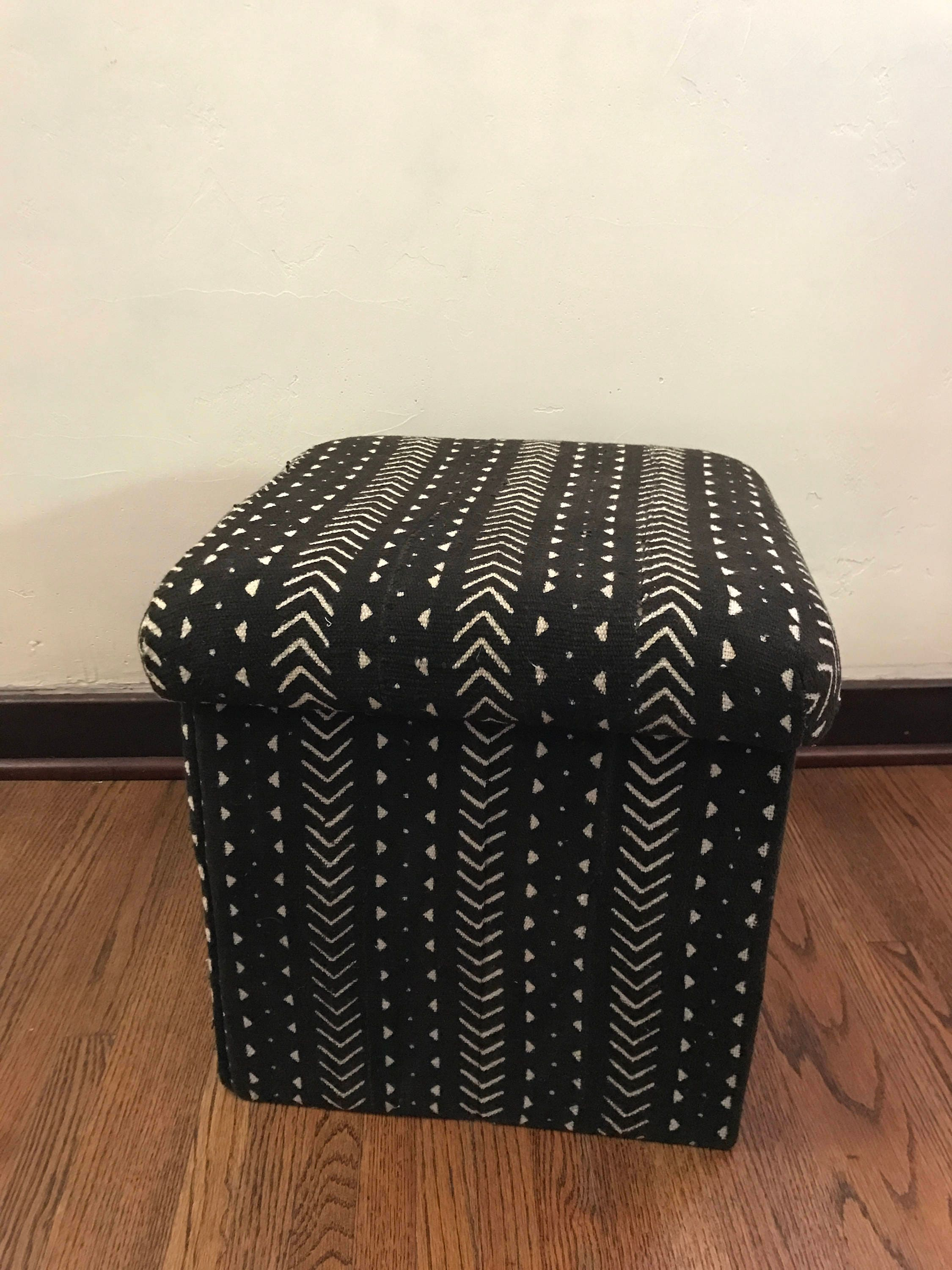 Marvelous Ottoman Storage Cube African Mudcloth With Lid Andrewgaddart Wooden Chair Designs For Living Room Andrewgaddartcom