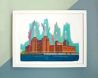 Battersea Power Station Print, Battersea Power Station Illustration, London Landmark Print, Art Deco Architecture Print, Location Print