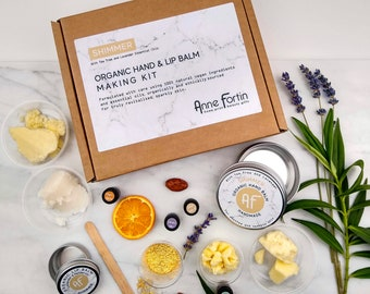 Personalised Organic Hand and Lip Balm Making Kit 'Shimmer' with Tea Tree & Lavender