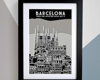 Personalised Barcelona Location Print, Personalised Barcelona Travel Poster, Sagrada Familia Print, Spain Wall art