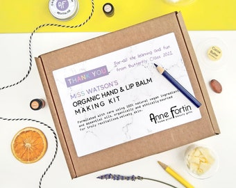 Personalised 'Thank you Teacher' Pamper Gift, Organic & Vegan Hand and Lip Balm Craft Kit for Teachers, Personalized Teacher Letterbox Gift