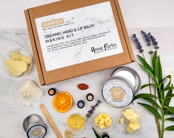Sparkly Organic and Vegan DIY Lip and Hand Balm Making Kit with Lavender and Mandarin Essential Oils