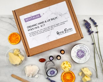 Organic & Vegan Lip and Hand Balm Kit with Lavender and Mandarin Essential Oils