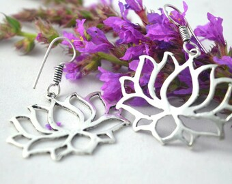 Lotus tribal earrings. silver earrings. bohemian earrings. ethnic earrings. hoop earrings. gypsy earrings