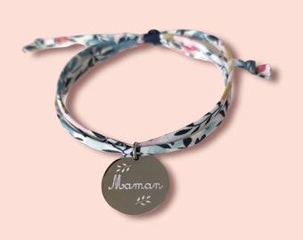 Bracelet liberty gravé, bracelet personnalisé, bracelet cordon liberty wiltshire porcelaine violine & médaille, bijoux cadeaux personnalisés