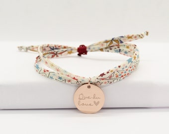 Bracelet liberty personnalisé, bracelet liberty gravé, bracelet cordon Liberty Adelajda étoiles multicolore & médaille cadeau personnalisé