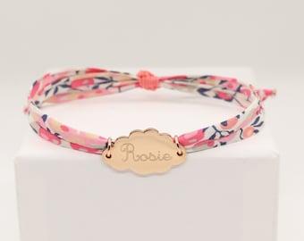 Bracelet liberty personnalisé, bracelet nuage prénom, bracelet médaille nuage, bracelet nuage gravé, cordon liberty wiltshire pois senteur