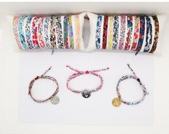 Personalized liberty bracelet, engraved liberty bracelet, Liberty wiltshire cord bracelet & medal, personalized gift idea woman / child