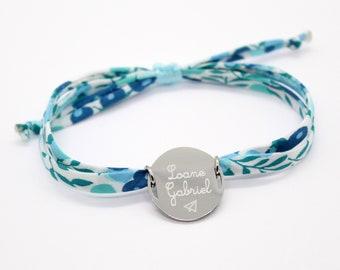 Bracelet personnalisé, bracelet liberty gravé, bracelet liberty personnalisé, Wiltshire Crystal blue, cadeaux personnalisés femme enfant