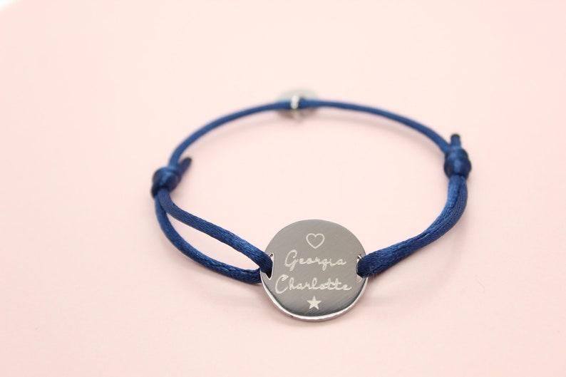 Bracelet cordon gravé personnalisé  médaille gravée image 0