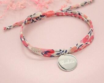 Cadeau de Noël personnalisé, Bracelet liberty personnalisé, bracelet liberty gravé, Bijou femme ou enfant, Cordon Wiltshire pois de senteur
