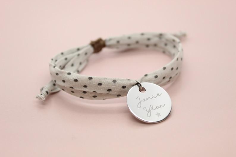 Liberty bracelet engraved polka dot fabric  customizable image 0