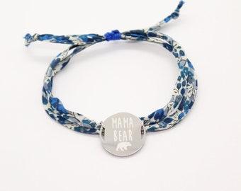 Bracelet liberty gravé, bracelet personnalisé, bracelet cordon liberty Emma and Georgina B & médaille, idée bijou cadeau personnalisé