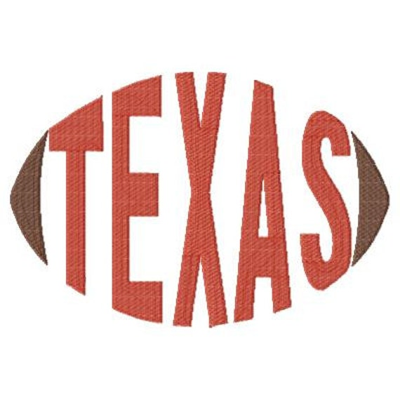Texas Football Embroidery Design Word Art Word Design Etsy