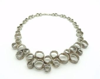 Modernist Organic Eric Robbert Silver Collier Necklace Trosa Sweden 1974