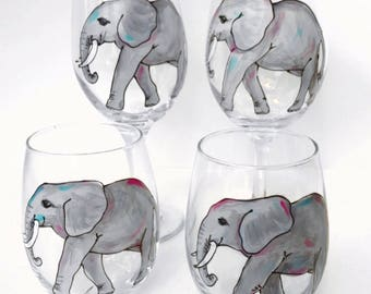 Elephant Wine Glass / Elephant Gift / Custom Hand Painted Glassware /  Elephant Lover