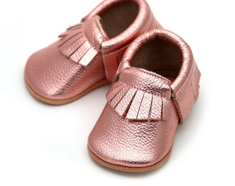 3965f411abb Rose gold baby shoes