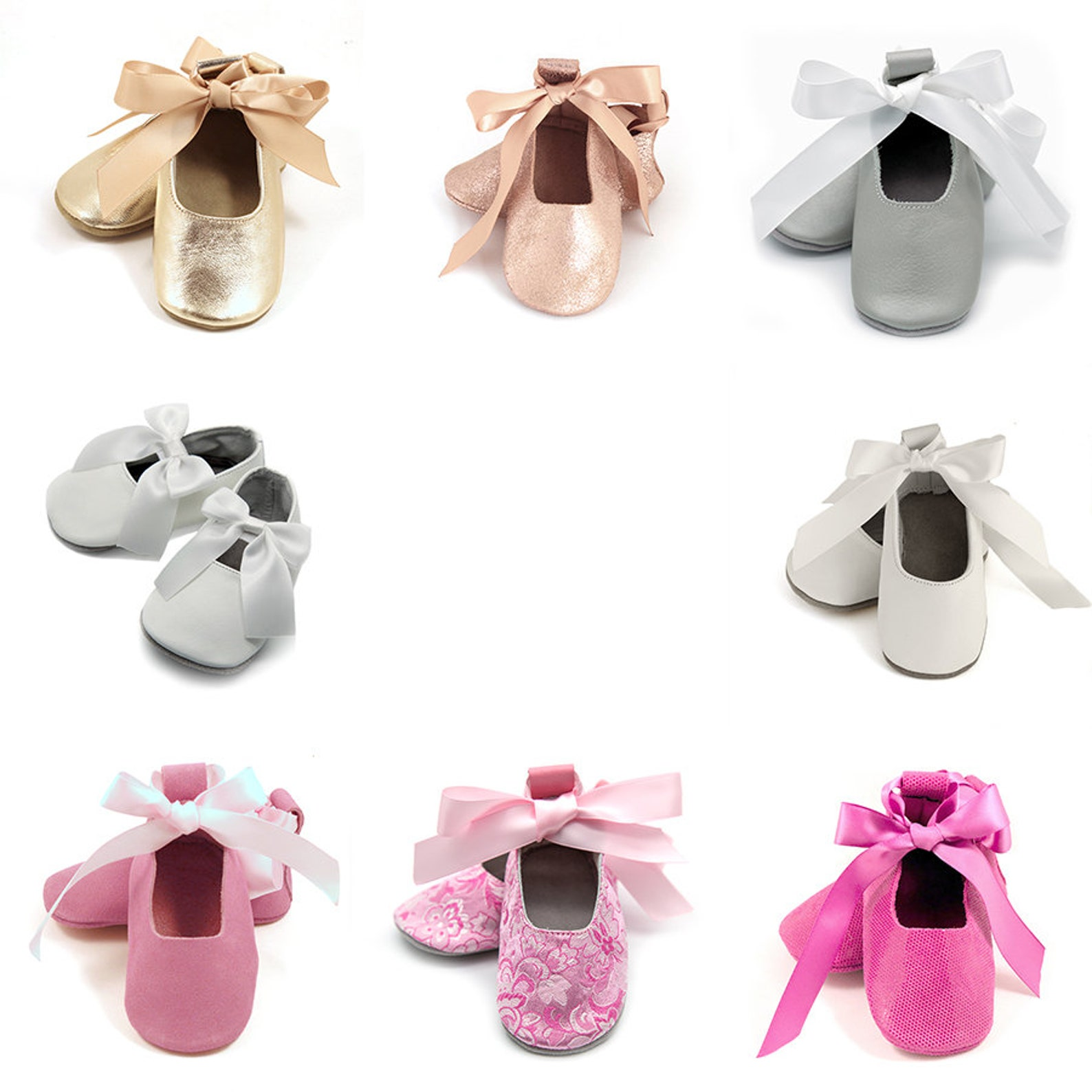 pink baby ballet flats, flower girl shoes, baby wedding shoes, baby shower gift, birthday shoes, baby and toddler girl shoes, le