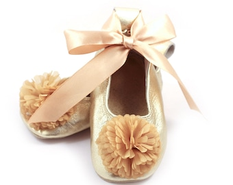 Gold ballet flats, flower girl shoes, baby wedding shoes, baby shower gift, birthday shoes, baby and toddler girl shoes, leather shoes