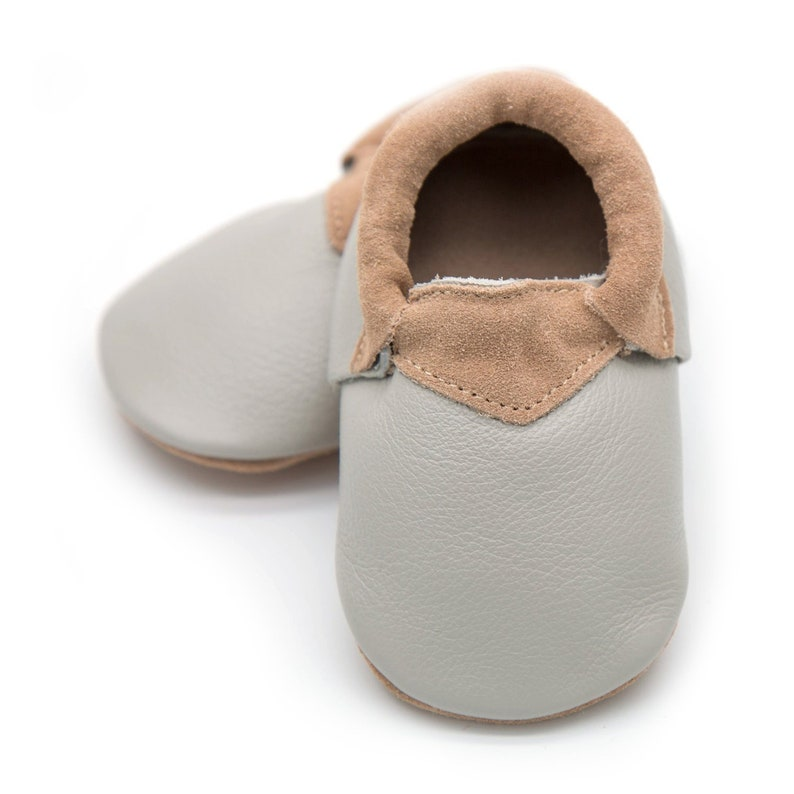 75a327c40b3 Gray baby loafer for baby or toddlerleather moccasintoddler
