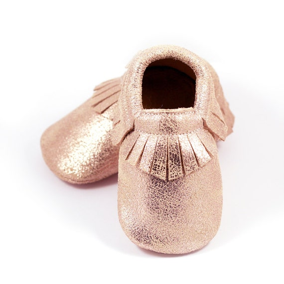 Rose gold baby leather shoes baby mocs
