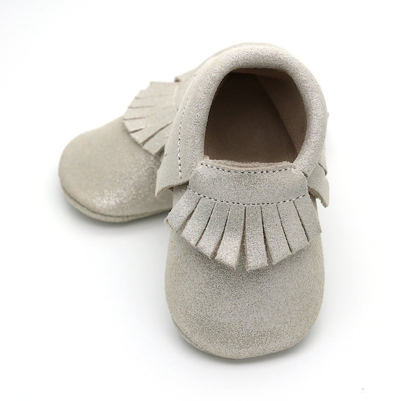 e601c721c55d7 Silver stardust baby shoes, silver moccasins for baby girls, baby mocs,  leather baby shoes, crib shoes, baby booties, baby shower gift