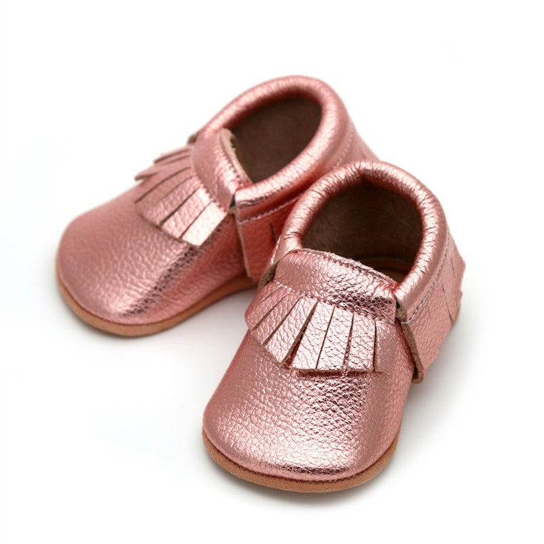 5329649badbd0 Rose gold baby moccs, baby shoes, baby booties, toddler shoes moccasins,  baby leather shoes, baby shower gift, birthday outfit, soft sole