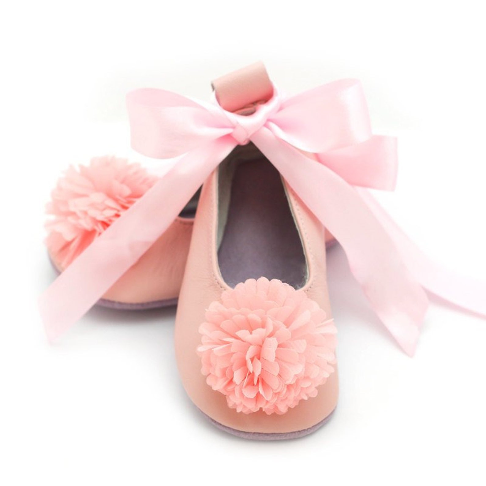 rose quartz flower girl shoes, baby ballet flats, baby shower gift, birthday gift, leather shoes for baby and toddler girls