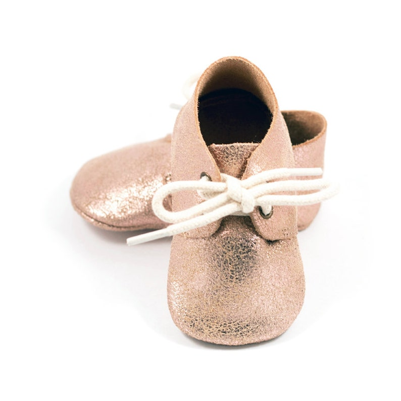 4dfa4a466095a Rose gold baby oxford shoes, baby mocs, gold moccasins for baby girls, crib  shoes, baby girl birthday shoes, baby shower gift