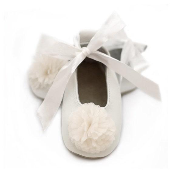 Flower girl shoes off white baptism ballet flats for girls etsy image 0 mightylinksfo