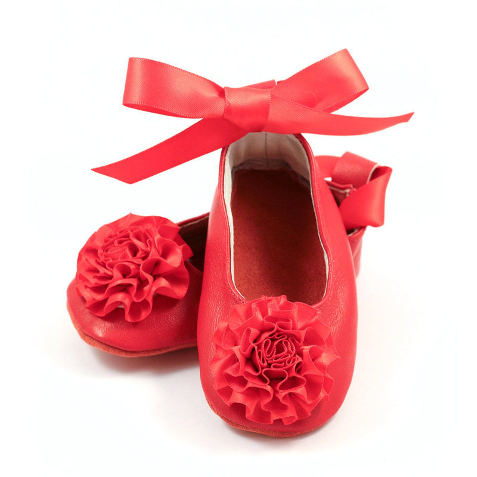 ruby red baby first valentines day outfit, ballet flats for baby and toddler girls, baby shower gift, birthday gift, princess sh